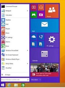 The start button returns in Windows 9.