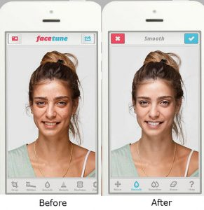 """Before"" and ""After"" using Facetune app"