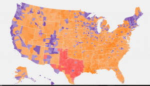 Gold is Trump, Purple is Sanders, Red is Cruz
