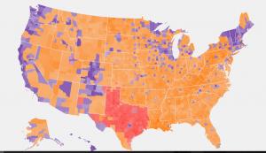 Gold is Trump, Purple is Sanders, Red is Cruz