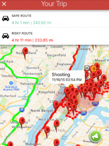 crime app showing new york